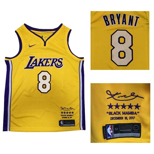 Nike Lakers 8 Kobe Bryant Gold Nba Swingman Black Mamba December 18 2017 Jersey Cheap Basketball Jerseys Design