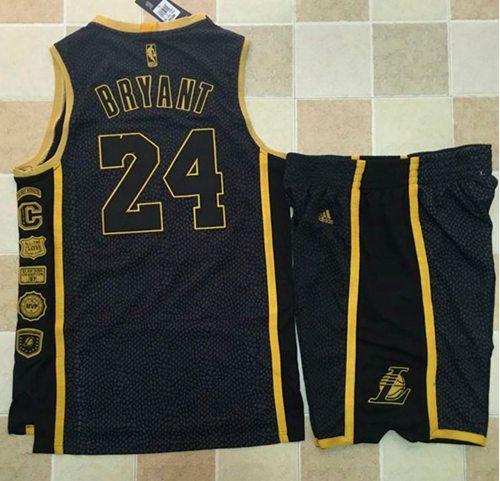 Lakers #24 Kobe Bryant Black Serpentine Retirement Memorial A Set ...