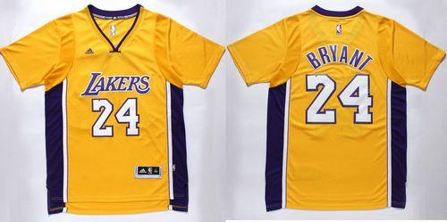 Lakers #24 Kobe Bryant Gold Short Sleeve Stitched NBA Jersey ...