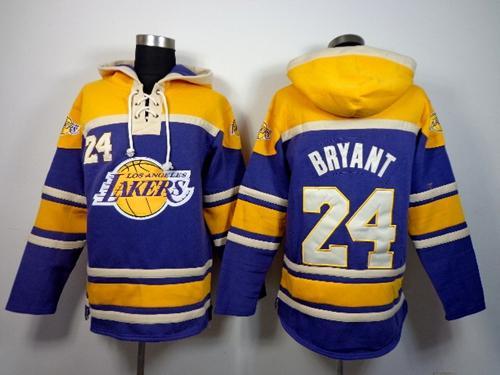 Lakers #24 Kobe Bryant Purple Sawyer Hooded Sweatshirt NBA Hoodie ...